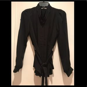 NEW YSL Black fancy blouse with tie waist in S